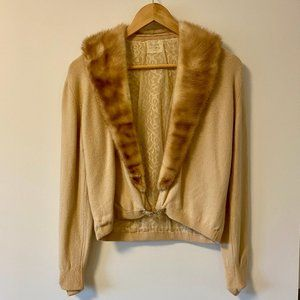 Vintage Wool and Mink Cardigan with Crystal Detail